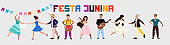 Festa Junina holiday. Hand drawn modern vector character set. Trendy illustration of positive dancing people. Man playing guitar and drums, women with triangle instrument, Couple dancing Forro dance.