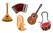 Music instrument set. Isolated musical instruments - tuba, guitar, balalaika, accordion and drums. Modern hand drawn illustration. Clip art elements.