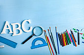 Items for the school and letters ABC