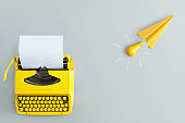 New idea paper aeroplane and typewriter