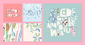 Artistic card set. Hand drawn banner, vector templates. Tropical abstract drawing. Cards, posters and creative trendy alphabet. Isolated typeface letters. Shape and stroke arrangement on paper sheets.