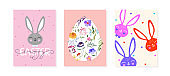 Easter greeting card, banner design set. Cute bunny, floral egg, hearts and branches. Hand written calligraphy text. Floral arrangement. Modern trendy greeting card and banner templates.