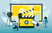 Little characters create a video. Blue and yellow colored vector illustration EPS 10