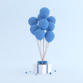 Mock up of gift box and balloons in minimal style. 3D rendering.