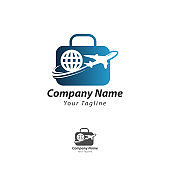 Simple Travel logo designs vector, Circle Travel Plane logo designs Template