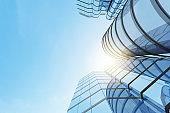 Abstract futuristic architecture, Skyscraper glass office building. 3D render.