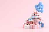 Mock up of gift box in minimal style. 3D rendering.