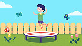 Joyful boy kid jumping on trampoline in summer backyard lawn with fence. Smiling child cartoon character having fun outdoors and enjoying active leisure and entertainment. Flat vector illustration