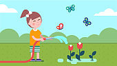 Gardener girl watering plants from garden hose on summer lawn with butterflies. Child enjoying gardening and planting flowers. Smiling kid cartoon character. Flat vector illustration