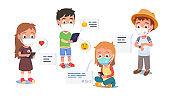 Boys girls kids in masks texting via tablet, cell phone, smart watch communicating during coronavirus pandemic lockdown. Children send chat messages. Communication technology. Flat vector illustration