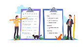 Business man & woman scheduling & planning working day and week. Manager people standing next to large clipboards filled with upcoming tasks schedule. Time management concept. Flat vector illustration