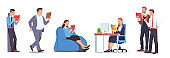 Business men & women reading books in office set. Smart business people walking, standing & sitting in bean bag chair, at desk. Education, literature, expertise & knowledge. Flat vector illustration
