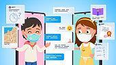 Distant online education concept. School student kids talking via video and text chat app on cell phones. Children do homework together wearing masks. Epidemic quarantine flat vector illustration