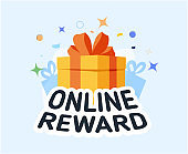 online reward , Group of happy people receive a gift box vector illustration concept, digital referral program, can use.