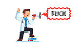 Medical worker man cursing yelling holding bullhorn protesting. Physician doctor protester shaking fist shouting trough hailer. Flat vector character illustration