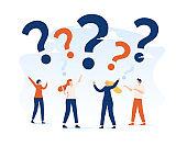 Vector illustration, concept illustration of people frequently asked questions around question marks, answer to question