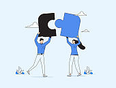 Business concept. Team metaphor. people connecting puzzle elements. Vector illustration flat design style. Teamwork