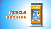 ATM in mobile phone concept. Cash machine on smart cellphone screen. Mobile banking and internet bank metaphor inside smartphone wallet app. Flat vector illustration