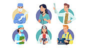 Medical workers & doctors professions set. Surgeon, therapist, physician, general practitioner, radiologist, nurse, oculist, emergency paramedic. Health care professionals. Flat vector illustration