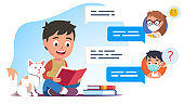 Children read books together & chat about literature online during coronavirus quarantine. Boy kid sitting at home & talking with remote friends. Communication during pandemic flat vector illustration