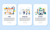 Planning and organizing concept illustration set, perfect for banner, mobile app, landing page. Onboarding screens set