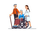 Nurse pushing wheelchair with sick or disabled old woman next to his aged husband walking with cane. Elderly people family couple receiving help & care. Flat vector illustration