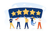 People Characters Giving Five Star Feedback. Clients Choosing Satisfaction Rating and Leaving Positive Review. Customers