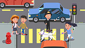Man & woman couple, girl kid with dog walking crossing street on green traffic light. City road crosswalk. Smiling police officer controller directing traffic. Pedestrian safety flat vector illustration