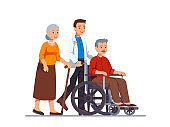 Family doctor or nurse pushing wheelchair with sick or disabled old man next to his aged wife walking with cane. Elderly people family couple receiving help & care. Flat vector illustration