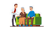 Doctor or nurse visiting elderly people family couple and measuring blood pressure of woman. Old grandmother receiving help & care in monitoring her health at home. Flat vector illustration