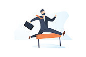 Confident businessman jumping over hurdle. Business concept of overcoming obstacles and achieving the goal, illustration
