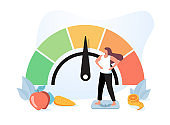 Woman and obese chart scales isolated flat vector illustration. Cartoon person on diet trying weight control with BMI.