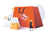 Trendy cartoon woman carry shopping bags enjoy big sale isolated on white. Colorful female shopaholic holding purchases