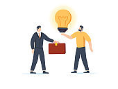 The man is holding a huge light bulb and shaking hands with a businessman with briefcase. Startup search of investments