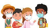 School students boys & girls kids in masks eating & chatting. Schoolboys & schoolgirls children communicating during coronavirus pandemic. Education & corona virus epidemic. Flat vector illustration