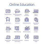 Online education, elearning concept. Webinar, educational video, schedule, web campus study, laptop computer, library thin line icons set. E-learning technology linear vector illustrations