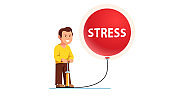 Excessive stress concept. Frowned man with grin pumping big overblown stress balloon bubble with pump maliciously creating explosive pressure & dangerous risk. Flat vector illustration