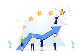 Vector illustration of groups of people holding arrow to get a star from the sky, achieving success. Leadership and team