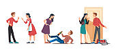 Man & woman couple in bad relationship. Arguing, reprimanding, having argument fight. Husband and wife breakup, parting & divorce. Family conflicts. Marriage crisis. Flat vector character illustration