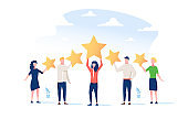 Happy people are holding review stars over their heads. Five stars rating. Customer review rating and client feedback