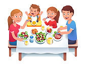 Father, mother, daughter & son kids having home family dinner or lunch sit at table. Mom feeding toddler child in chair. Happy family cartoon characters eating meal together. Flat vector illustration