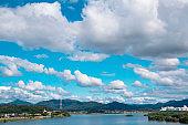 Blue sky full of cumulus clouds and beautiful city scenery