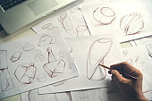 Production designer sketching Drawing Development Design product packaging prototype idea Creative Concept