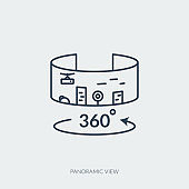 Vector outline icon of virtual reality technology - panoramic view