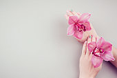 Manicure and flowers.