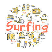 Colorful icons in summer surfing theme