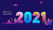 2021 year font ,Vector illustration in trendy flat style and bright vibrant gradient colors ,plants, leaves, trees and sky - background for banner, greeting card, poster