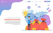 Vector web header template of crowdfunding - successful business start up