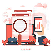 Vector red square concept of case study in flat style