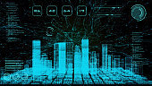 Smart world technology digital smart city 3D architecture building hologram scan with monitor screen user interface HUD control, security energy power futuristic digital neon color light background.